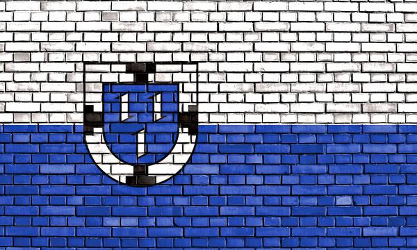 flagge von bottrop auf ziegelwand gemalt