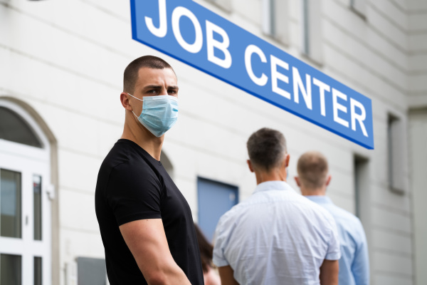 job center line of jobless unemployed