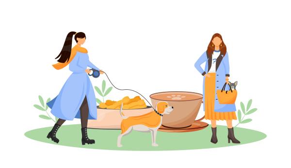 weibliche hundebesitzerin in cafe flat konzept