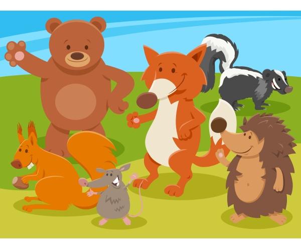 glueckliche cartoon wildtierfiguren gruppe