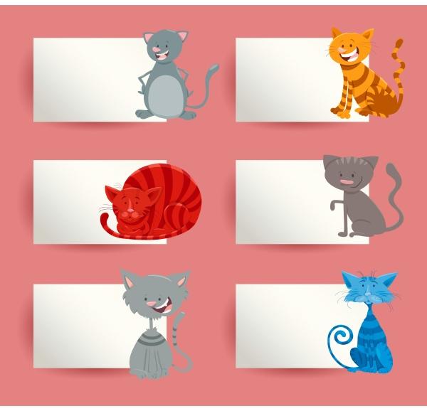 katzen und kaetzchen cartoon karten design