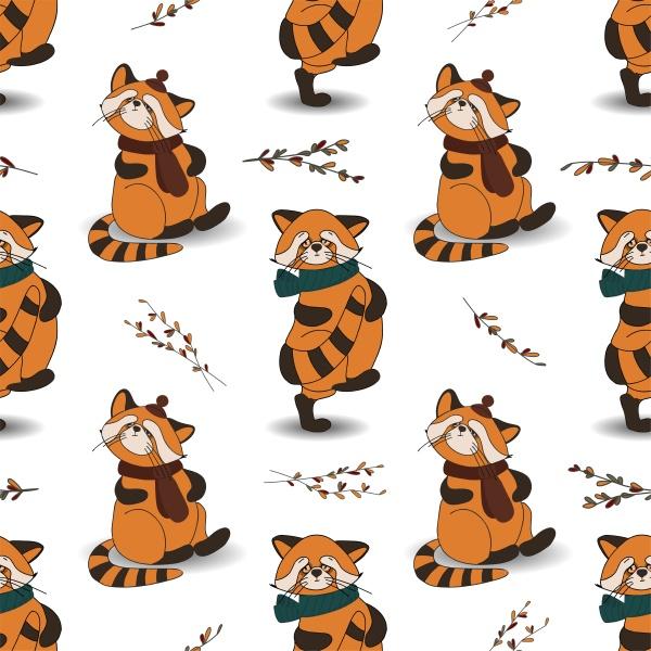 herbstmuster mit tieren roter panda