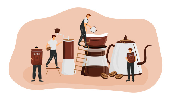 kaffeebruehmethoden flaches konzept vektorillustration mann macht