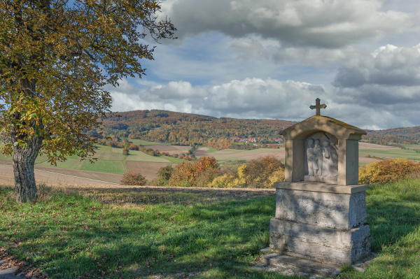 idyllische landschaft in rhoen deutschland