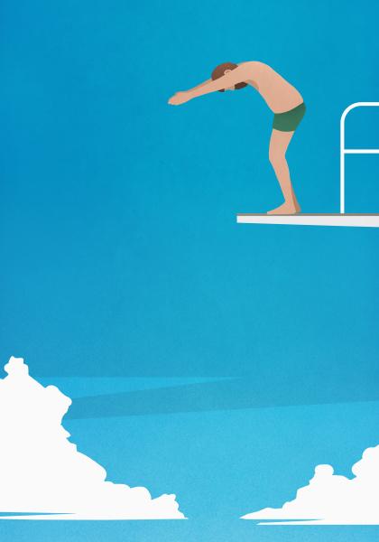 man, preparing, to, dive, off, platform - 28722016