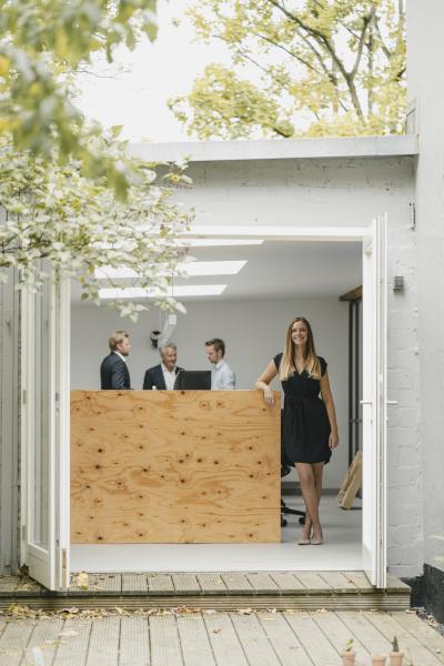 businesswoman, standing, in, open, office, door, - 28748252