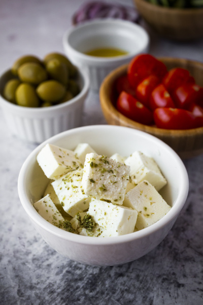 bowls, with, fresh, ingredients, for, greek - 28750827
