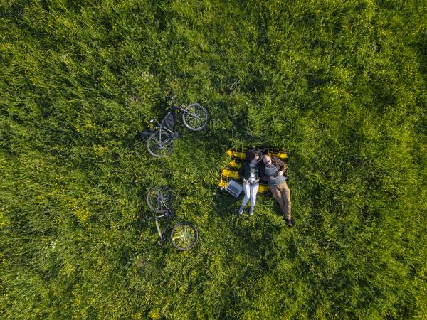 paar auf gras liegend luftbild