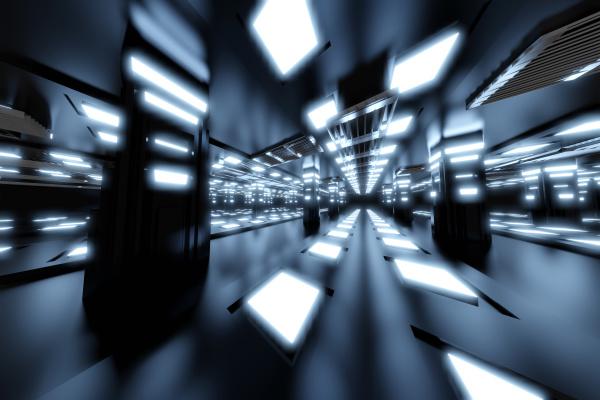dreidimensionale darstellung des futuristischen innenraums von