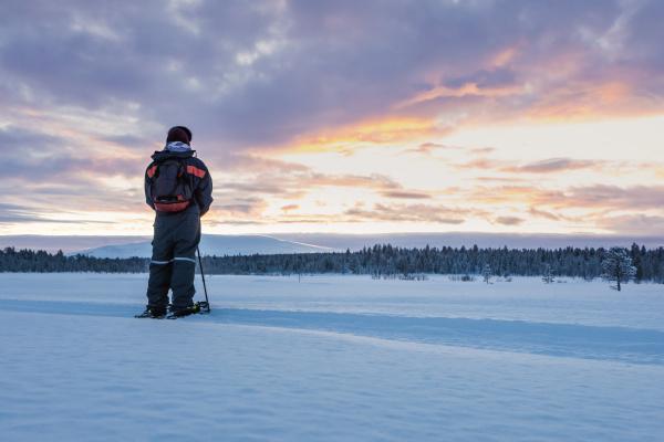 rueckansicht des schneeschuhwanderers in der winterlandschaft