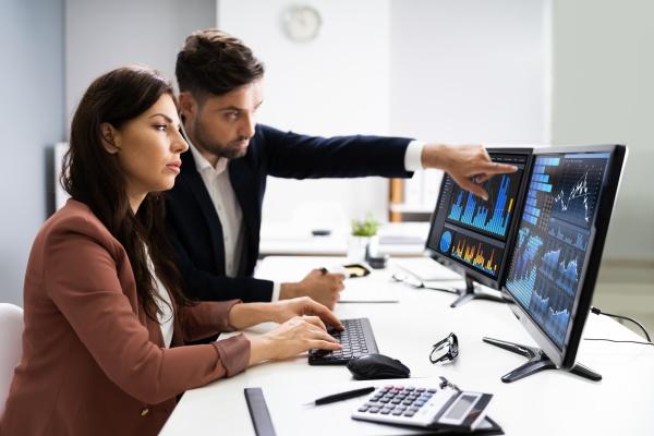 finanzberater und business analyst arbeiten