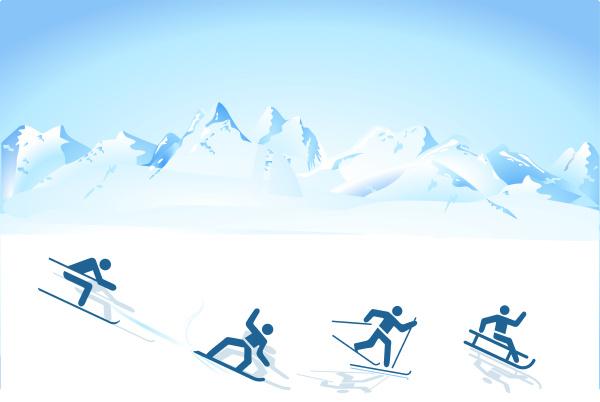 wintersport in den bergen
