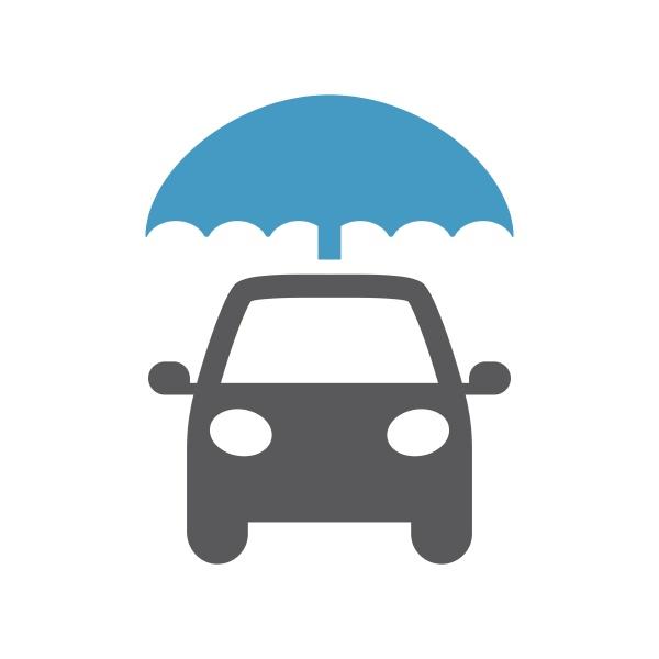 auto, mit, regenschirm, schwarzes, vektorsymbol - 28808617