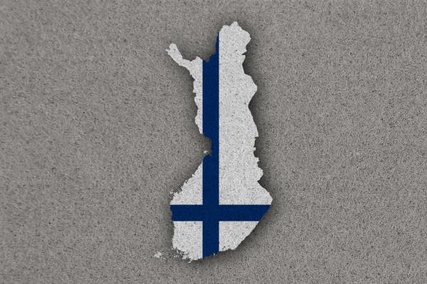 karte und flagge von finnland auf