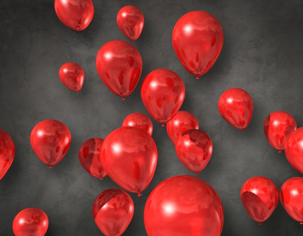 rote luftballons auf betonhintergrund