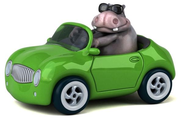 spaß, hippo, -, 3d-illustration - 28843812