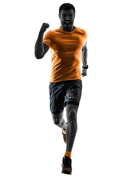 mann laeufer laeuft jogger joggen isolierte