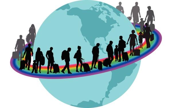 travelers migrantson auf regenbogen
