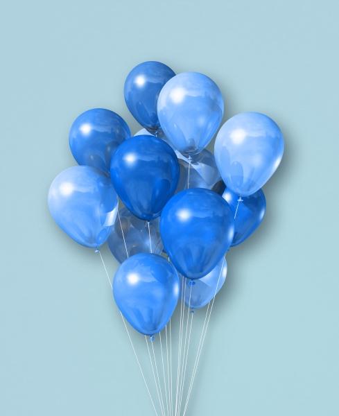 cyan luftballons gruppe auf einem hellblauen