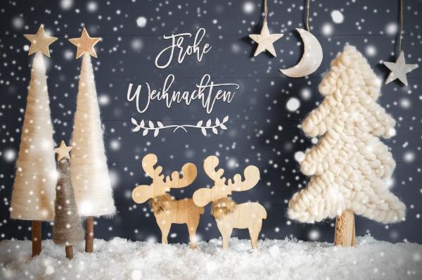 baum elch mond schnee frohe weihnachten