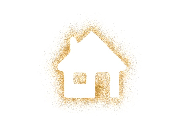 goldene hausform aus glitzer