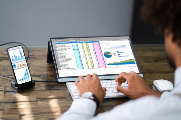 analyst mitarbeiter der tabellenkalkulationssoftware am telefon