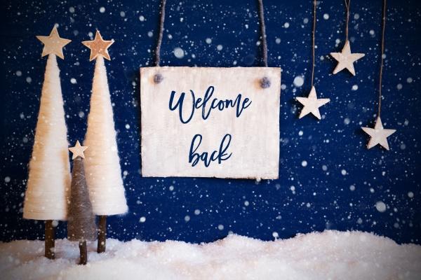weihnachtsbaum blauer hintergrund schnee text welcome