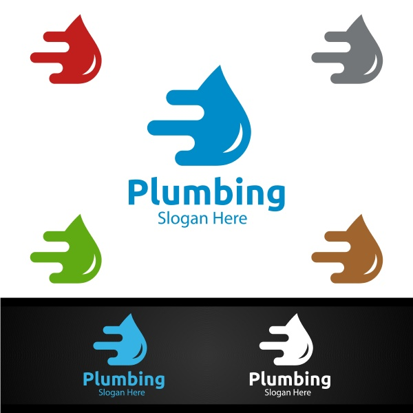 fast, plumbing, logo, with, water, and - 28940806