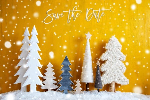 weihnachtsbaeume schneeflocken gelber hintergrund save the