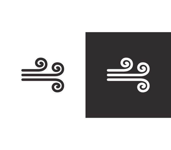 wind isoliertes symbol auf schwarz weissem