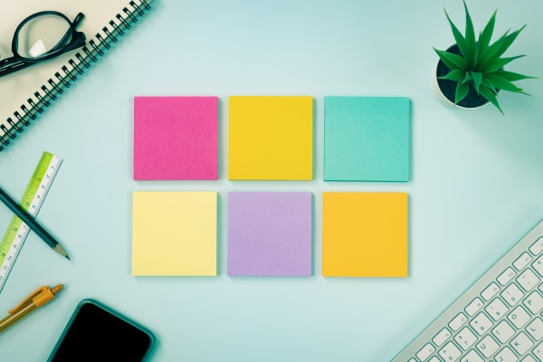 top view 6 farbe sticky note