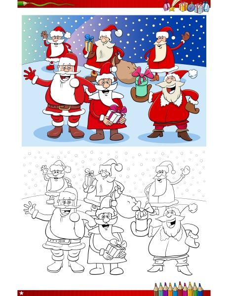 weihnachtsmann weihnachten zeichen gruppe malbuch seite