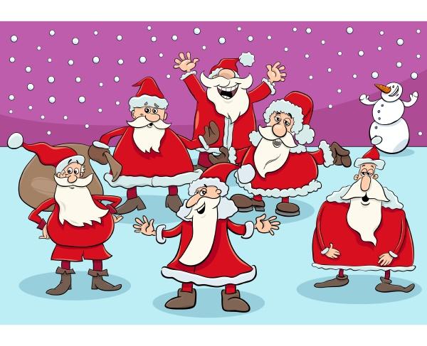 glücklich, santa, claus, zeichentrickfiguren, gruppe, auf - 28981129