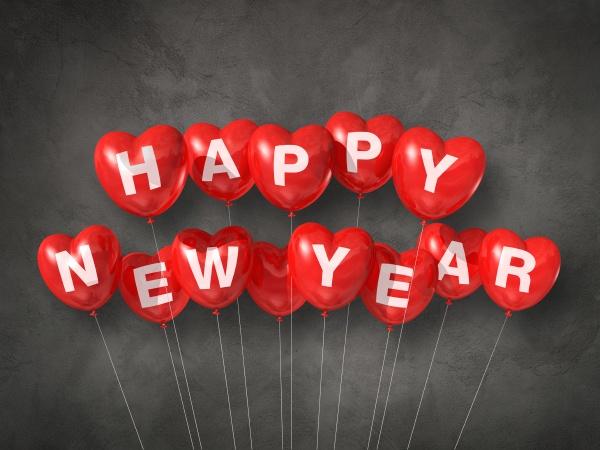 rot gluecklich neues jahr herzfoermige luftballons