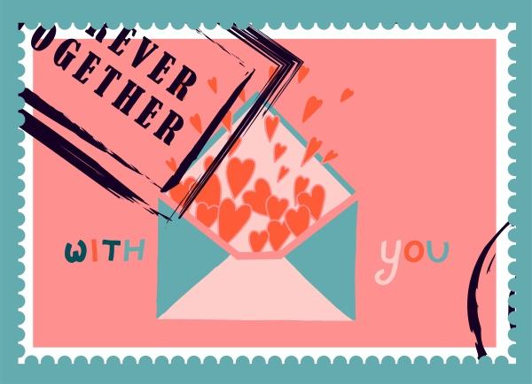 romantische briefmarken umschlaege und karten fuer