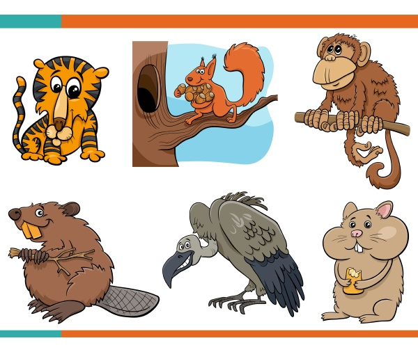 lustige tiere zeichentrickfiguren set