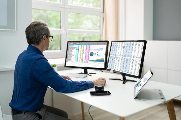 analystenmitarbeiter mit tabellenkalkulationssoftware