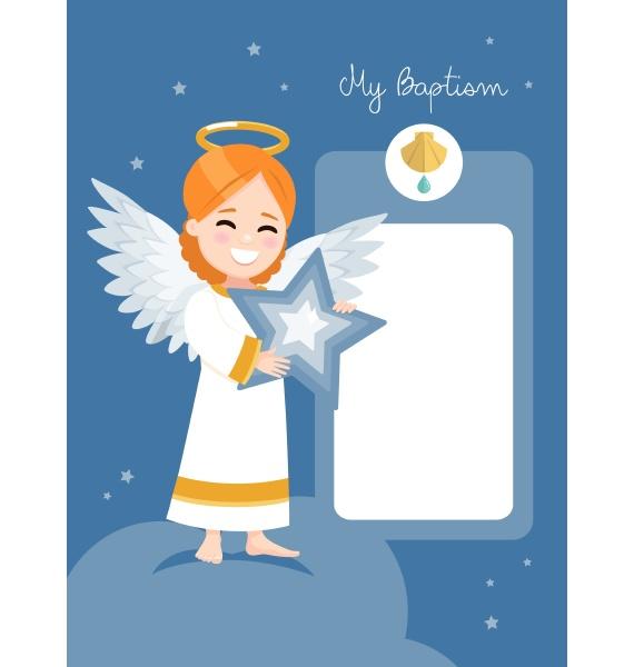 engel mit einem blauen stern taufeinladung