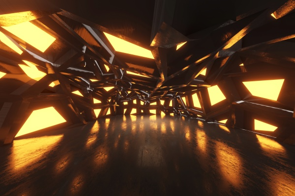 dreidimensionale ungelle des bizarren korridors im