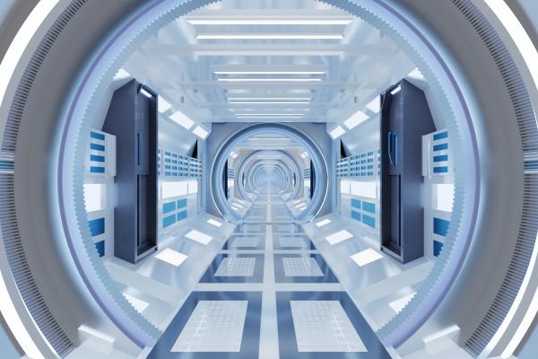 3d gerendert illustration des beleuchteten futuristischen