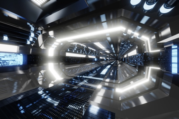 3d gerenderte illustration innenraum eines raumschiffs