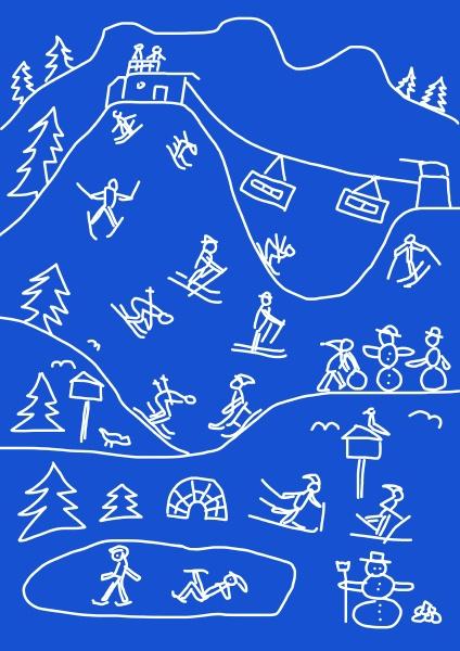 kinderzeichnung, von, mehreren, winterferienaktivitäten - 29129364