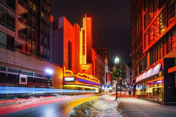 boston stadtzentrum bei nacht