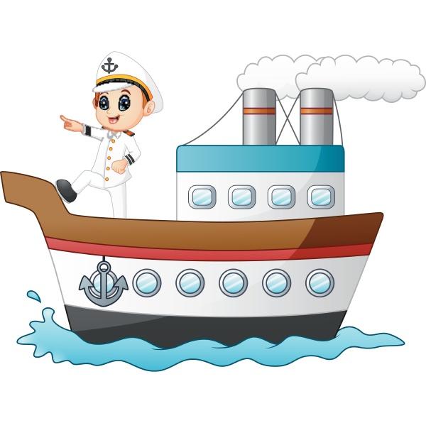 cartoon schiffskapitaen zeigt auf ein schiff