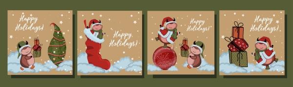 grossen satz von weihnachtskarten jahr des