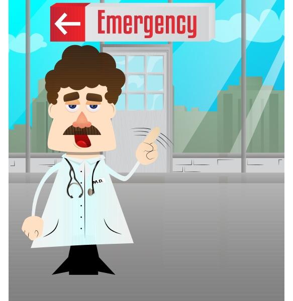 lustiger cartoon doktor der mit dem