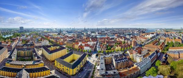 panoramablick auf das stadtzentrum von kopenhagen