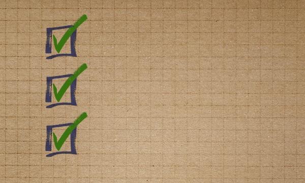 checkliste zum konzept des papier schreibblocks