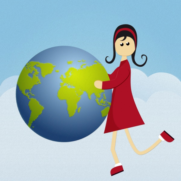 maedchen haelt einen globus