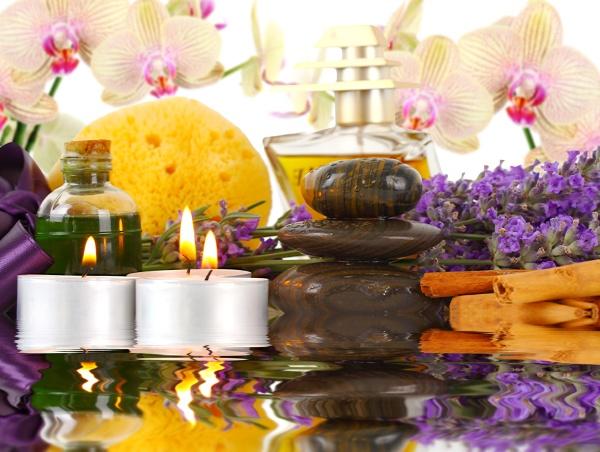 zubehör, für, spa, mit, orchideen, lavendel, steinen, kerzen, und - 29641387